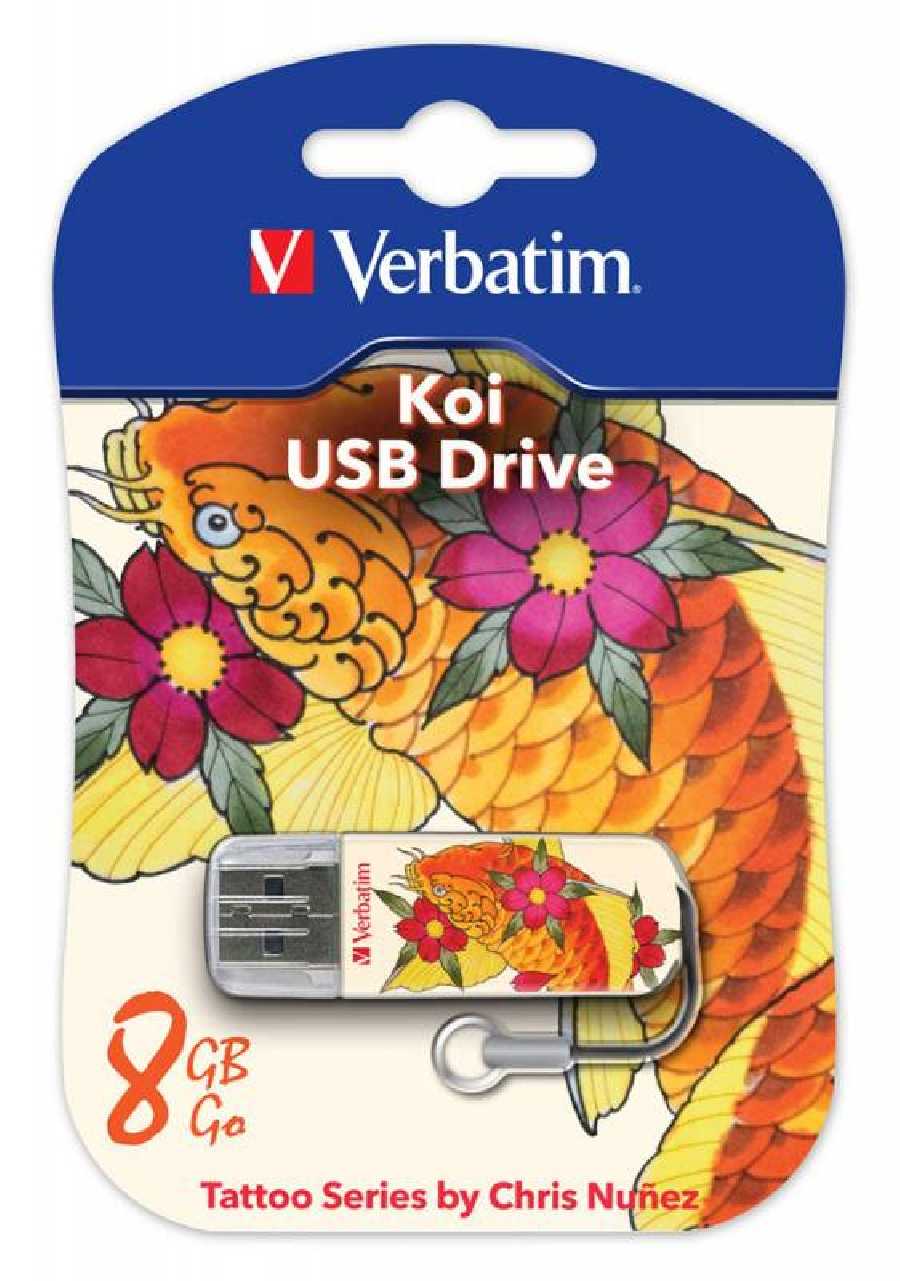 Flash Drive 8GB Verbatim Mini Tattoo Edition KOI FISH