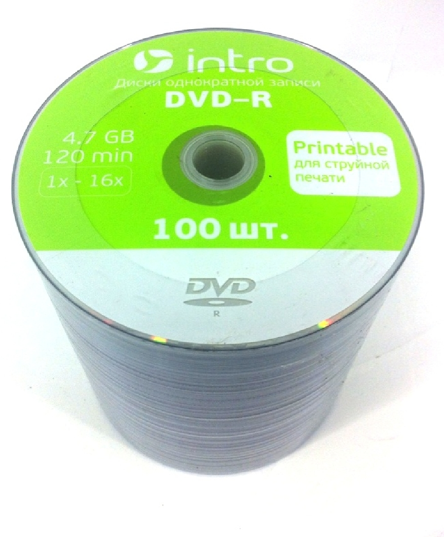 DVD-R  (100) 4,7GB Intro 16x INKPRINT shrink
