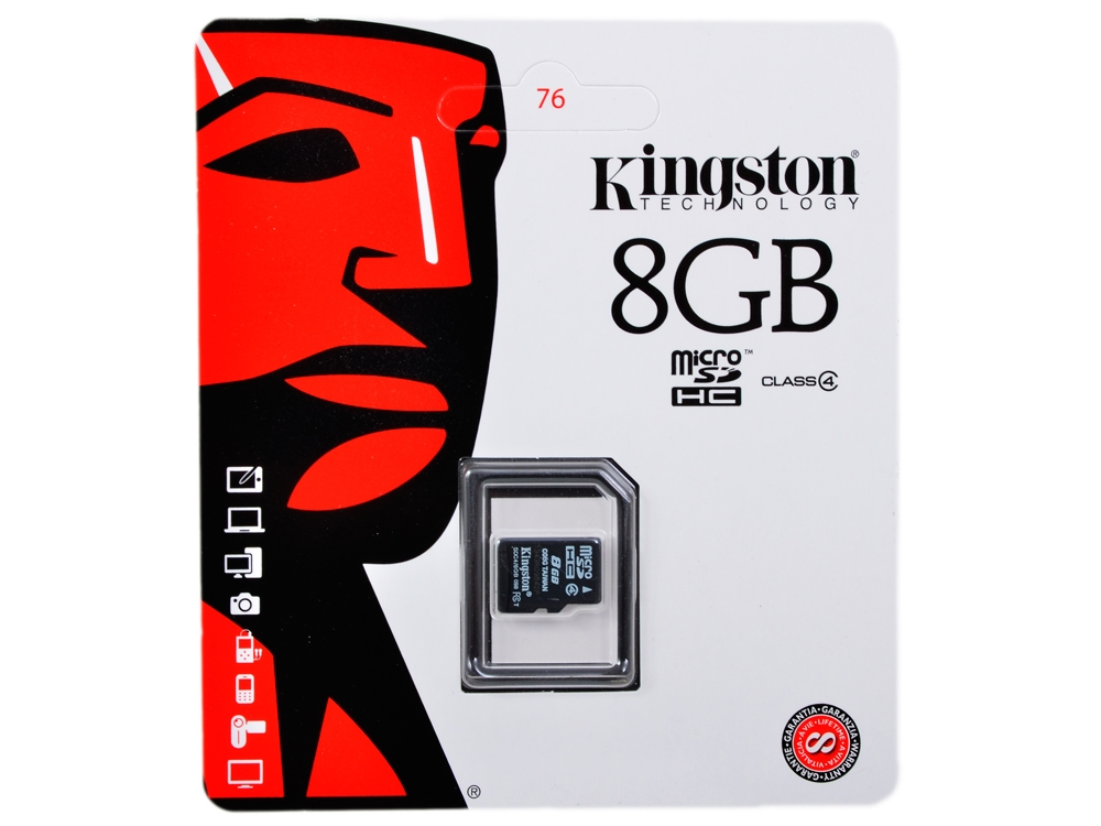 Micro SDHC 8 GB Kingston Class4 w/o adapter