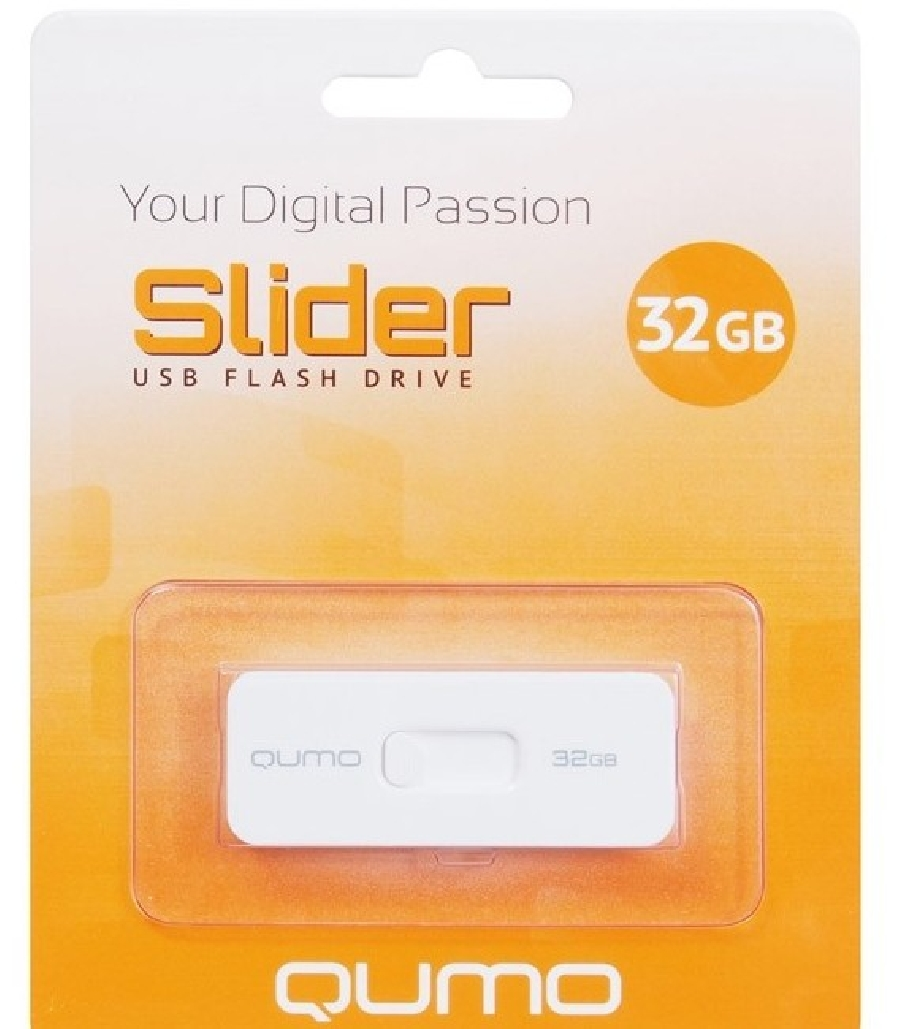 Flash Drive 32GB QUMO Slider-01 White