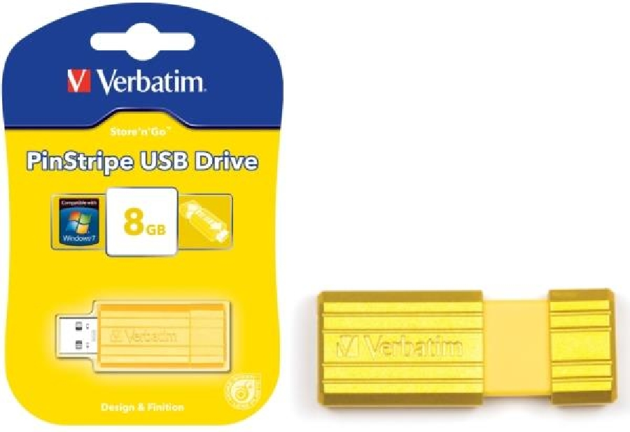 Flash Drive 16GB Verbatim Pin Stripe yellow