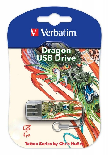 Flash Drive 16GB Verbatim mini tattoo dragon
